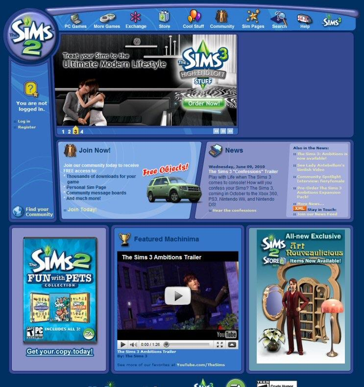 The Sims 2 website. All the elements are blue and indigo and rounded and fun. The navbar uses icons from the game itself.