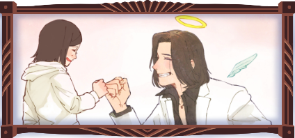 An illustration of a young man in a white suit kneeling down and fist-bumping a young girl in a white sweater and scarlet skirt. The man is grinning. He has a halo and little angel wings. The girl is laughing too, with a single teardrop on her cheek.