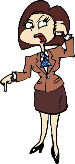 Caricature of the mom, after Charlotte McSell-Pickles. Straight, neat, sharply cut dark chestnut hair, a tan suit, dark brown skirt, black pumps. Making an assertive call on her rose gold iPhone.
