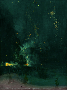 Fireworks on a misty night. Bright blue smoke billows from the dark water, into dark sky, and little yellow glittering lights rain down from the heavens. There are a few lonely figures on the bleak shore. Everything is painted in tones of emerald.