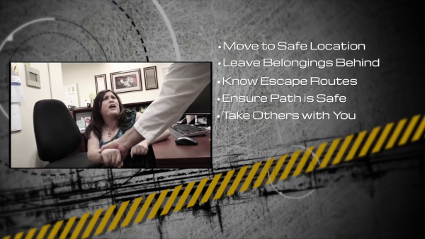 Mid-video review: Move to safe location. Leave belongings behind. Know escape routes. Ensure path is safe. Take others with you.