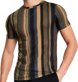 """Muscle-fit tee with vertical stripes in black, dark night grey, burnished bronze, khaki, with a shining golden meandros descending from one's right shoulder and a lesser bronze meandros on the left. The words """"Maison Riviera"""" in all capitals are printed in bronze on dark night grey stripes on the left flank, and next to the greater golden meandros. The neck and sleeves are offset to the main pattern."""