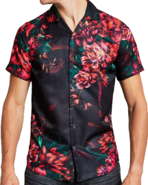 A black viscose shirt with Cuban collar, large crimson camellias printed and spaced conservatively from each other. Smaller, dark green leaves complement the camellias. Nice sheen.