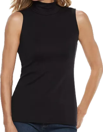 A black sleeveless top that descends and hugs around the hips, with a mockneck collar. Simple and shows the arms.