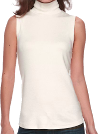 A cream sleeveless top that descends and hugs around the hips, with a mockneck collar. Simple and shows the arms.
