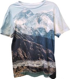 Muscle-fit tee with a print of an icy mountain landscape at  the top, with barren cocoa brown mountains in front and a turquoise lake in the foreground.