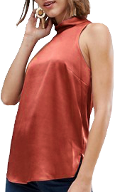 A sleeveless, copper chiffon top that reveals the underarm nicely, with a rollneck. The hem descends past the hips, and the back covers the butt nicely. Coquettishly modest.