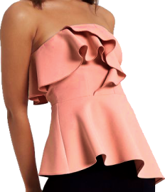 A pink bandeau top that curves up in an arch up the sternum, the bust is covered in descending large frills that terminate at the waist, and the skirt slants down to one's left with large, elegant folds.